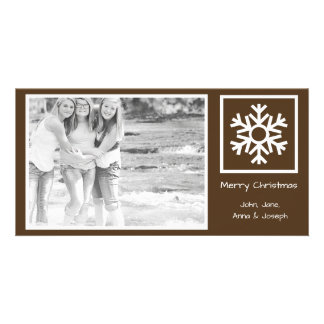 Lone Snowflake Christmas Photo Card (Brown)