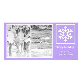 Lone Snowflake Christmas Photo Card (Violet)