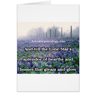 Lone Star Genealogy Poem Bluebonnet Card