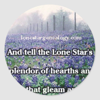 Lone Star Genealogy Poem Bluebonnet Classic Round Sticker