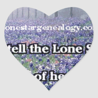 Lone Star Genealogy Poem Bluebonnet Heart Sticker