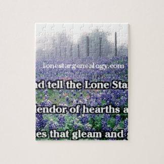 Lone Star Genealogy Poem Bluebonnet Jigsaw Puzzle
