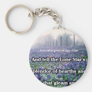 Lone Star Genealogy Poem Bluebonnet Keychain