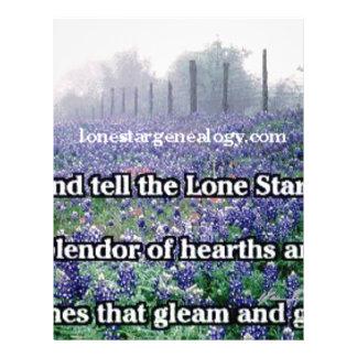 Lone Star Genealogy Poem Bluebonnet Letterhead