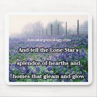 Lone Star Genealogy Poem Bluebonnet Mouse Pad