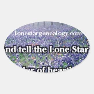 Lone Star Genealogy Poem Bluebonnet Oval Sticker