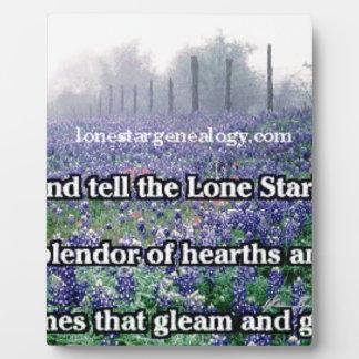 Lone Star Genealogy Poem Bluebonnet Plaque