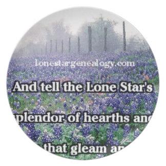 Lone Star Genealogy Poem Bluebonnet Plate