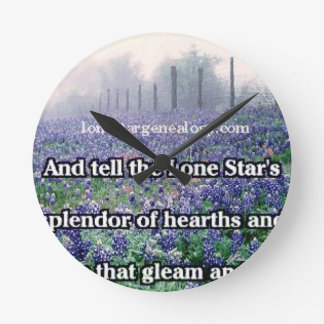 Lone Star Genealogy Poem Bluebonnet Round Clock