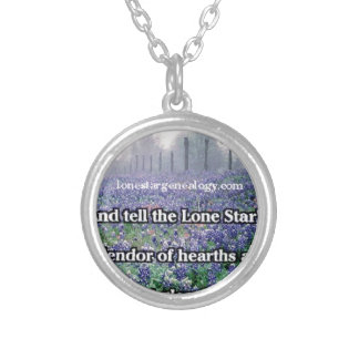 Lone Star Genealogy Poem Bluebonnet Silver Plated Necklace