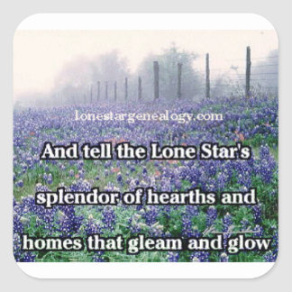 Lone Star Genealogy Poem Bluebonnet Square Sticker