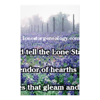 Lone Star Genealogy Poem Bluebonnet Stationery