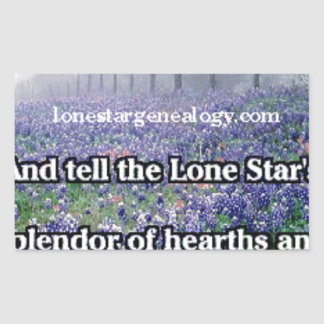 Lone Star Genealogy Poem Bluebonnet Sticker