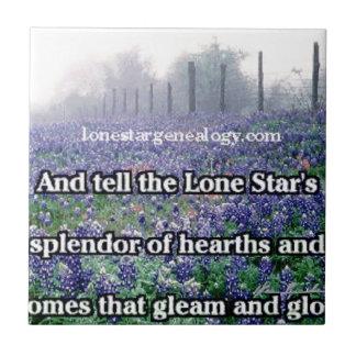 Lone Star Genealogy Poem Bluebonnet Tile