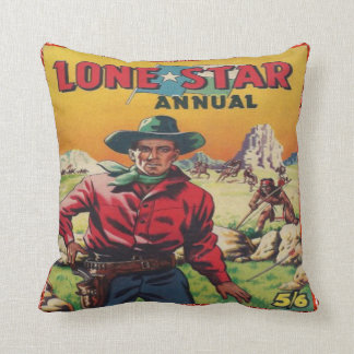 Lone Star Vintage Western Cowboy Print Throw Pillow