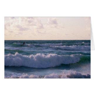 Lone Surfer at Fistral Beach Newquay Cornwall UK Card
