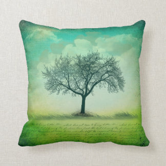 Lone Tree Grass Clouds Writing Throw Pillow