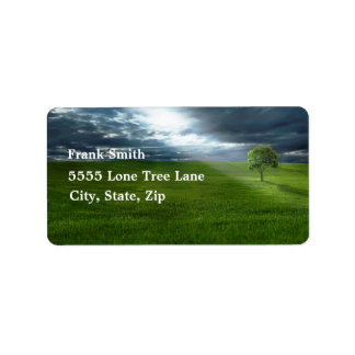 Lone Tree in Green Field Rays of Sunshine Address Label