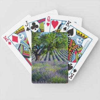 Lone tree in purple field of lavender poker deck