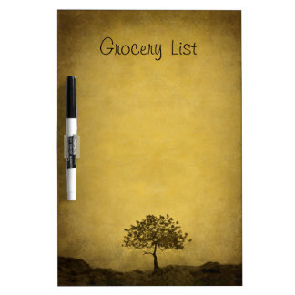 Lone Tree on Brown Grocery List Dry Erase Board