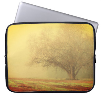 Lone Tree on Misty Morning Computer Sleeves
