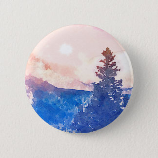 Lone Tree Watercolor 2 Inch Round Button