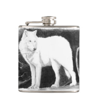 Lone White Wolf Hip Flask