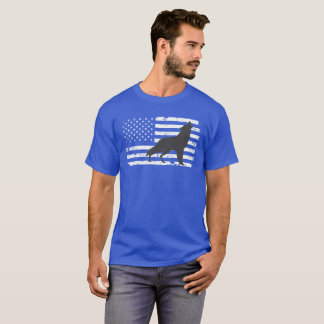 Lone Wolf and American Flag Design T-Shirt