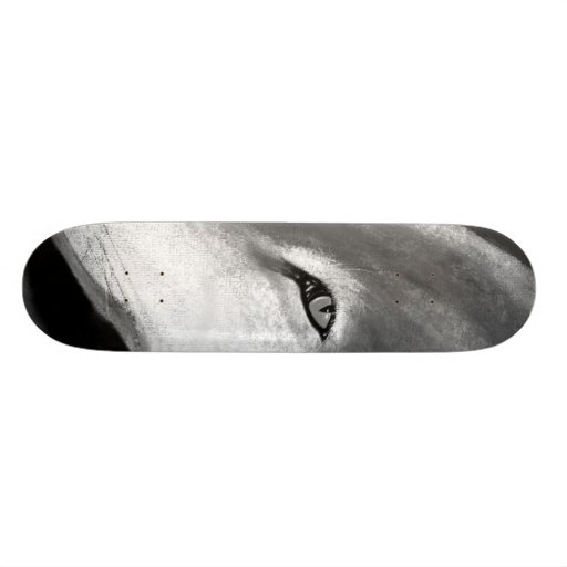 lone wolf black and white skateboard