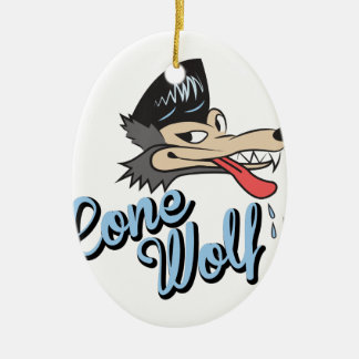 Lone Wolf Ceramic Oval Ornament