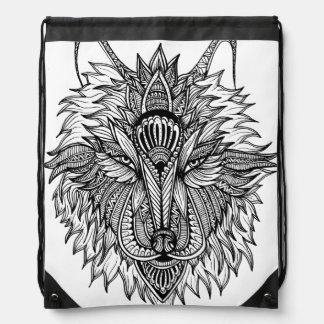Lone Wolf Drawstring Bag