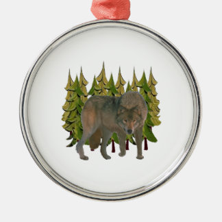 Lone Wolf Metal Ornament
