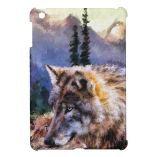 Lone Wolf Nature Landscape Painting iPad Mini Case