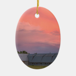 Lonely Barn Ceramic Ornament