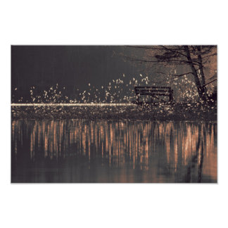 Lonely bench by the lake in the golden light wood poster