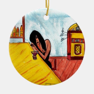 Lonely Brunette Ceramic Ornament