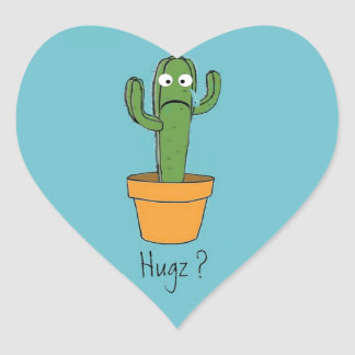 Lonely Cactus Needs a Hug Flirty Cartoon Heart Sticker