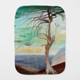 Lonely Cedar Tree Landscape Painting Baby Burp Cloth
