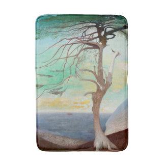 Lonely Cedar Tree Landscape Painting Bathroom Mat