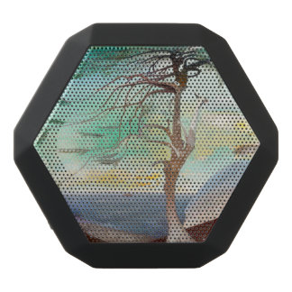 Lonely Cedar Tree Landscape Painting Black Bluetooth Speaker