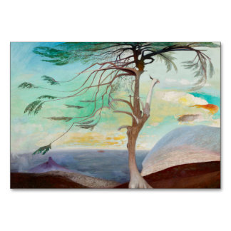 Lonely Cedar Tree Landscape Painting Card