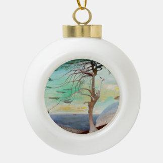 Lonely Cedar Tree Landscape Painting Ceramic Ball Christmas Ornament