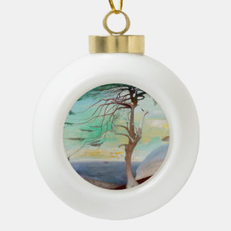 Lonely Cedar Tree Landscape Painting Ceramic Ball Ornament