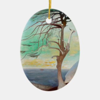 Lonely Cedar Tree Landscape Painting Ceramic Oval Ornament