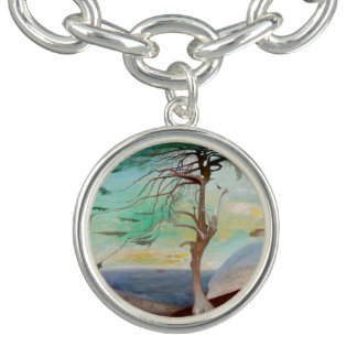 Lonely Cedar Tree Landscape Painting Charm Bracelets