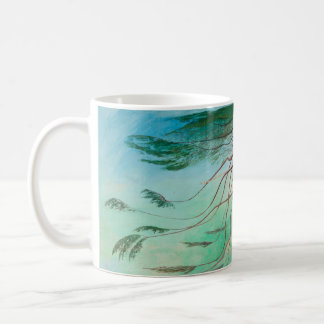 Lonely Cedar Tree Landscape Painting Coffee Mug