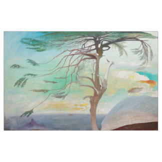 Lonely Cedar Tree Landscape Painting Fabric