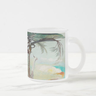 Lonely Cedar Tree Landscape Painting Frosted Glass Coffee Mug