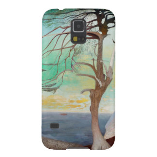 Lonely Cedar Tree Landscape Painting Galaxy S5 Covers