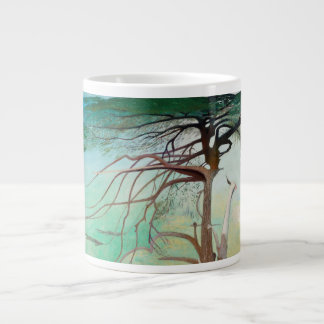 Lonely Cedar Tree Landscape Painting Giant Coffee Mug